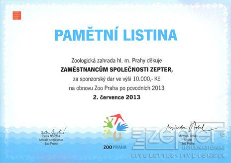 Zepter pomohl povodní postižené pražské ZOO